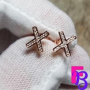 18k Rose Gold X Stud Earrings